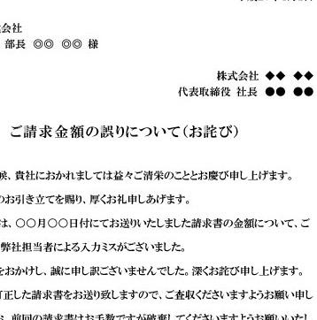 詫び状 [謝罪文、請求金額誤り、請求書誤記のお詫び、社外文書]